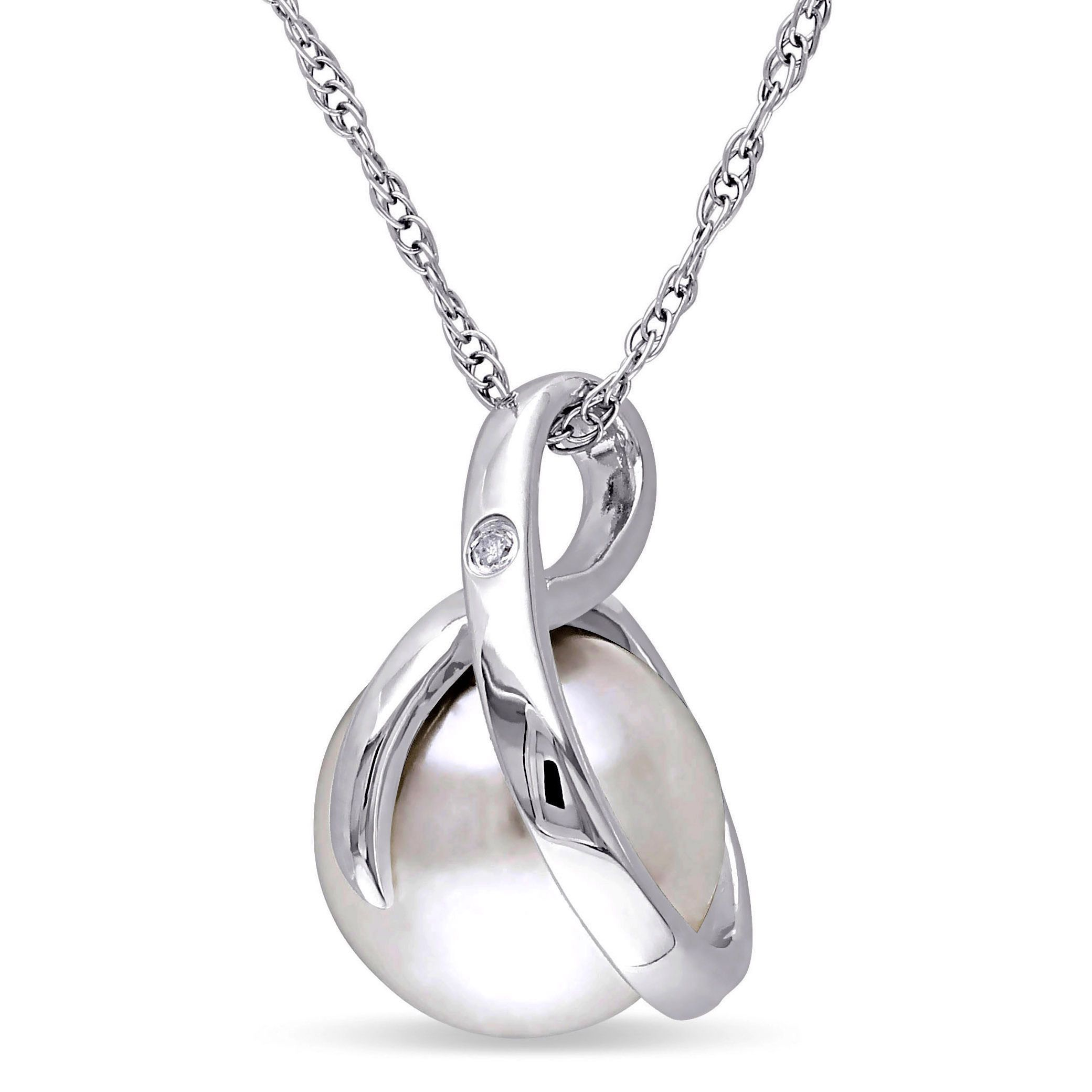 Zales 8.0 - 8.5mm Cultured Freshwater Pearl and Diamond Accent Loop Pendant in Sterling Silver Z1CGL