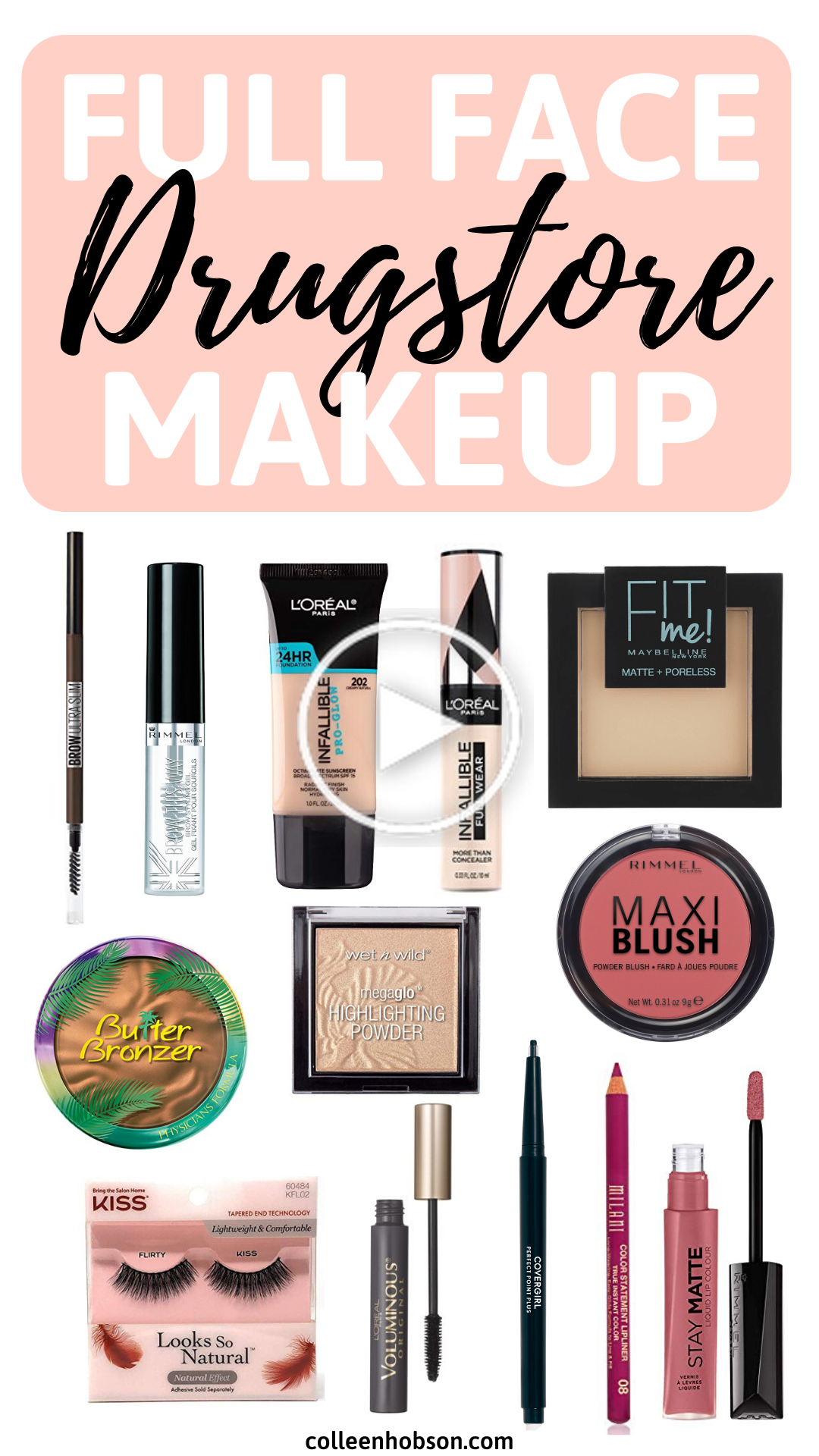 Drugstore Makeup Routine Full Face Tutorial In 2020 Best Drugstore Makeup Makeup Eyeliner Drugstore Makeup