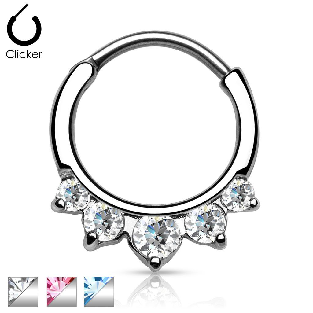 SURGICAL STEEL INDIAN STYLE SEPTUM CLICKER BAR RING ~ 1.2mm /& 1.6mm