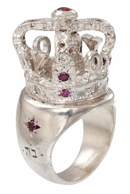 High Crown Ring Made in Silver and Adorned with Purple Synthetic Stones - Unisex for Men and Women Kabbalah Style - Handmade per Order
