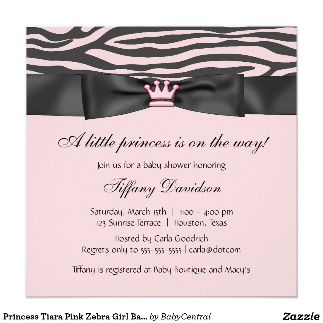 Princess Tiara Pink Zebra Girl Baby Shower Invitation | Girl Baby ...