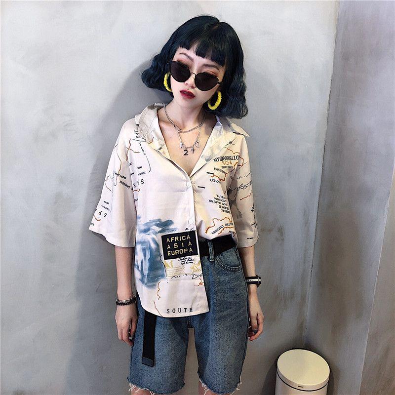6bfd3c18415 レディースファッション通販☆トレンドファッション♪ユニーク柄シャツ☆2018春夏新作 韓国