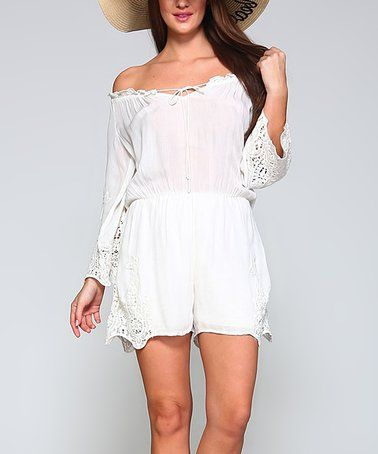 d3d81ee1b9ee Love this Off-White Lace-Accent Off-Shoulder Romper - Women on  zulily!   zulilyfinds