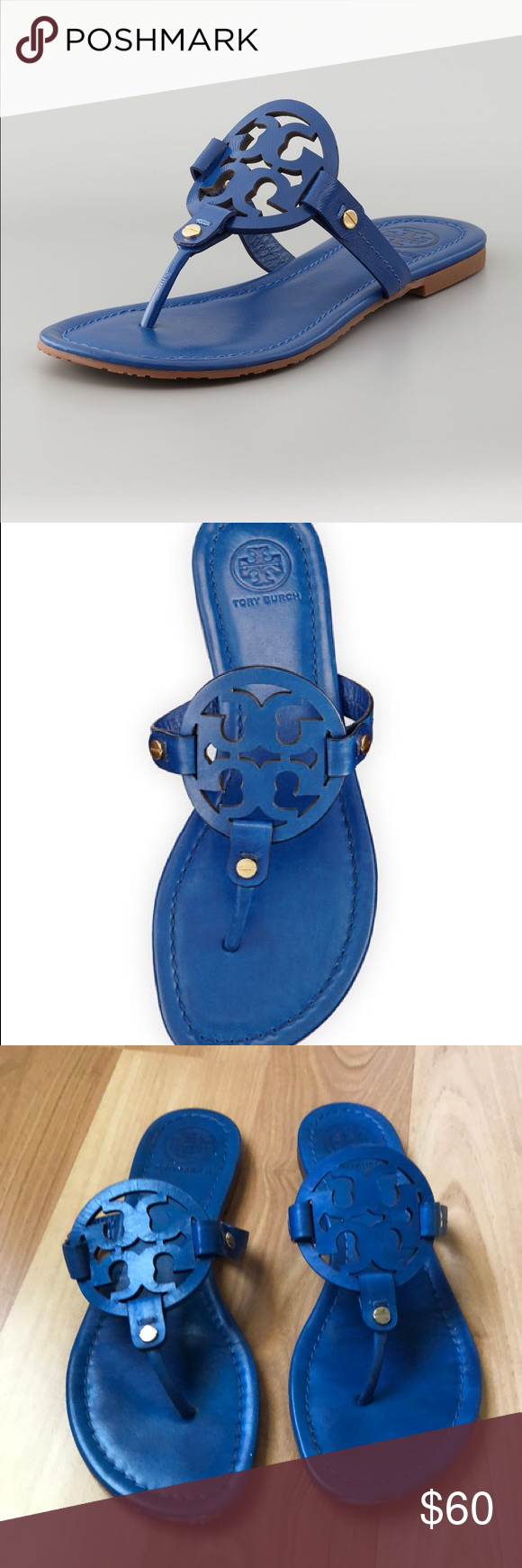 87bf3eb7aa2ad4 Tory Burch Miller Sandals Tory Burch Miller Sandals Blue Size 7.5 Please  see pictures for signs