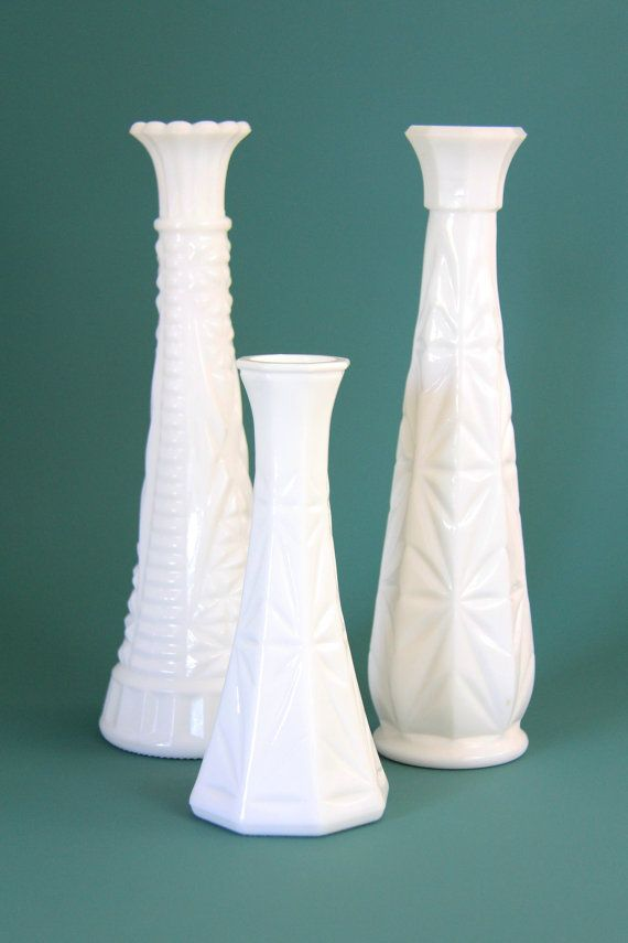 Tall White Bud Milk Glass Vase Vintage Yup I Have These Too