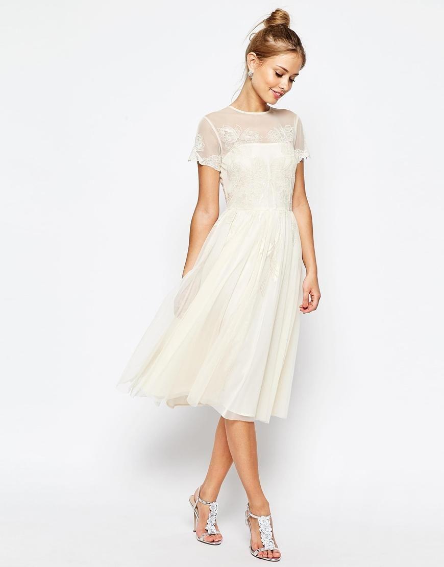 $161 ASOS | ASOS SALON Lace Applique Mesh Midi Skater Dress at ASOS ...