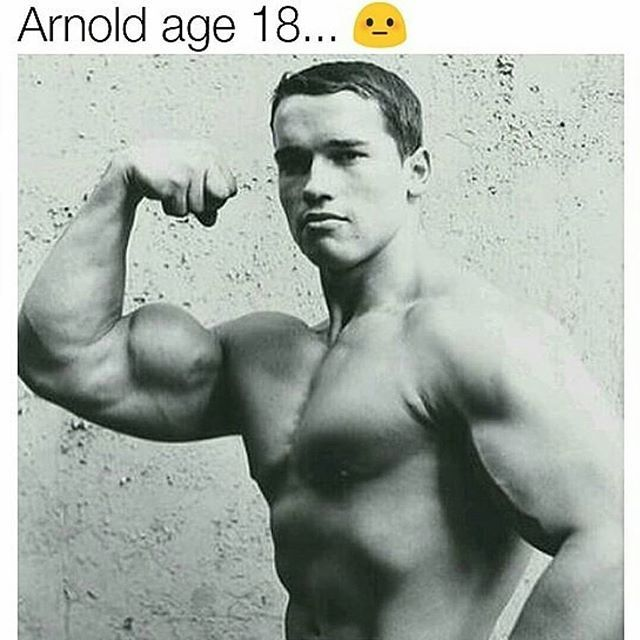 Arnold Schwarzenegger at age of 18 💪 @schwarzenegger - - 💪 Follow - new arnold blueprint ebook
