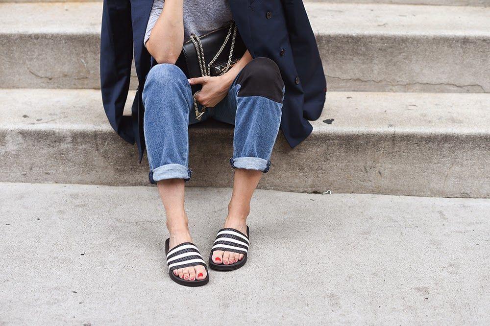 63e9718fa Adidas - Adilette Duramo Sleek women s slides (black white .
