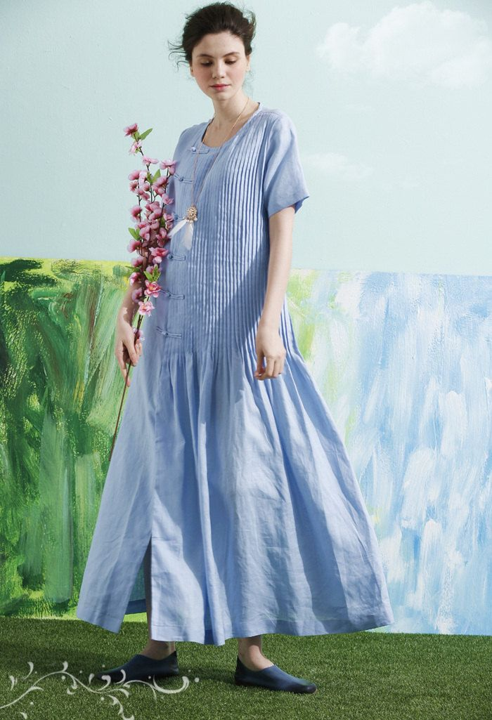 Maxi linen Dress in Pale Blue  【Details】 1. 100% top quality linen, light to medium weight, very soft and breathing, good for spring, summer and fall. 2.With exquisite pleats all over the dress 3.Beautiful bottons along fastening 4.two side pockets 5. flared bottom its special beauty will impress everyone every time You wear it. The dress has been cut with a maxi length. elegant and romantic.  【Happy Customer said】 Gorgeous, graceful item - an instant favorite. Ive been wearing it since it…