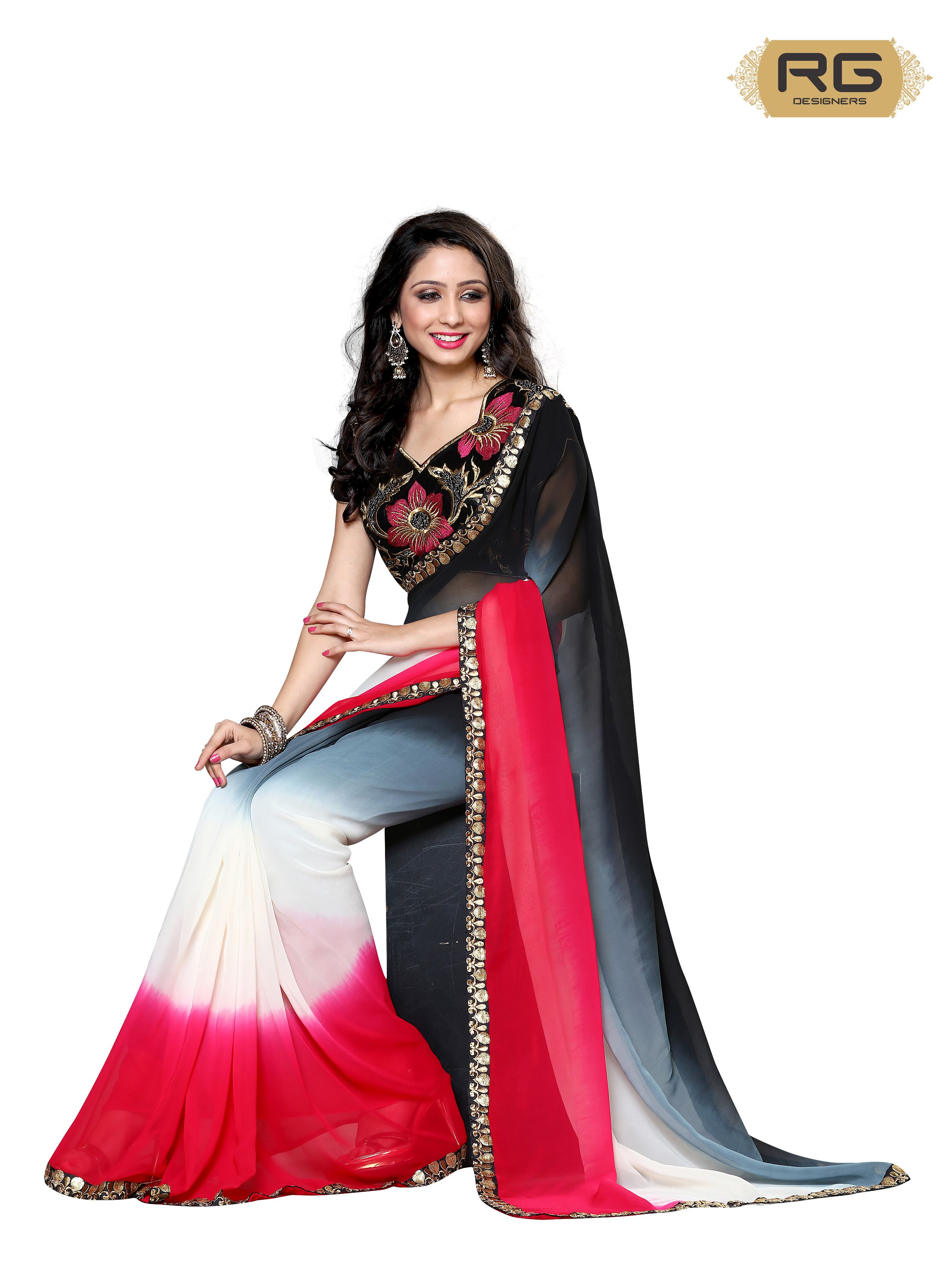 84bd39febb177d Red Heavy Blouse Saree || Floral embroidered blouse with a 3 shade saree in  red, black and white look stunning. || RG Designers