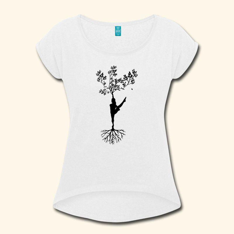 Yoga Schneidersitz Meditation bunt Geschenkidee fü | Frauen T-Shirt mit gerollten Ärmeln