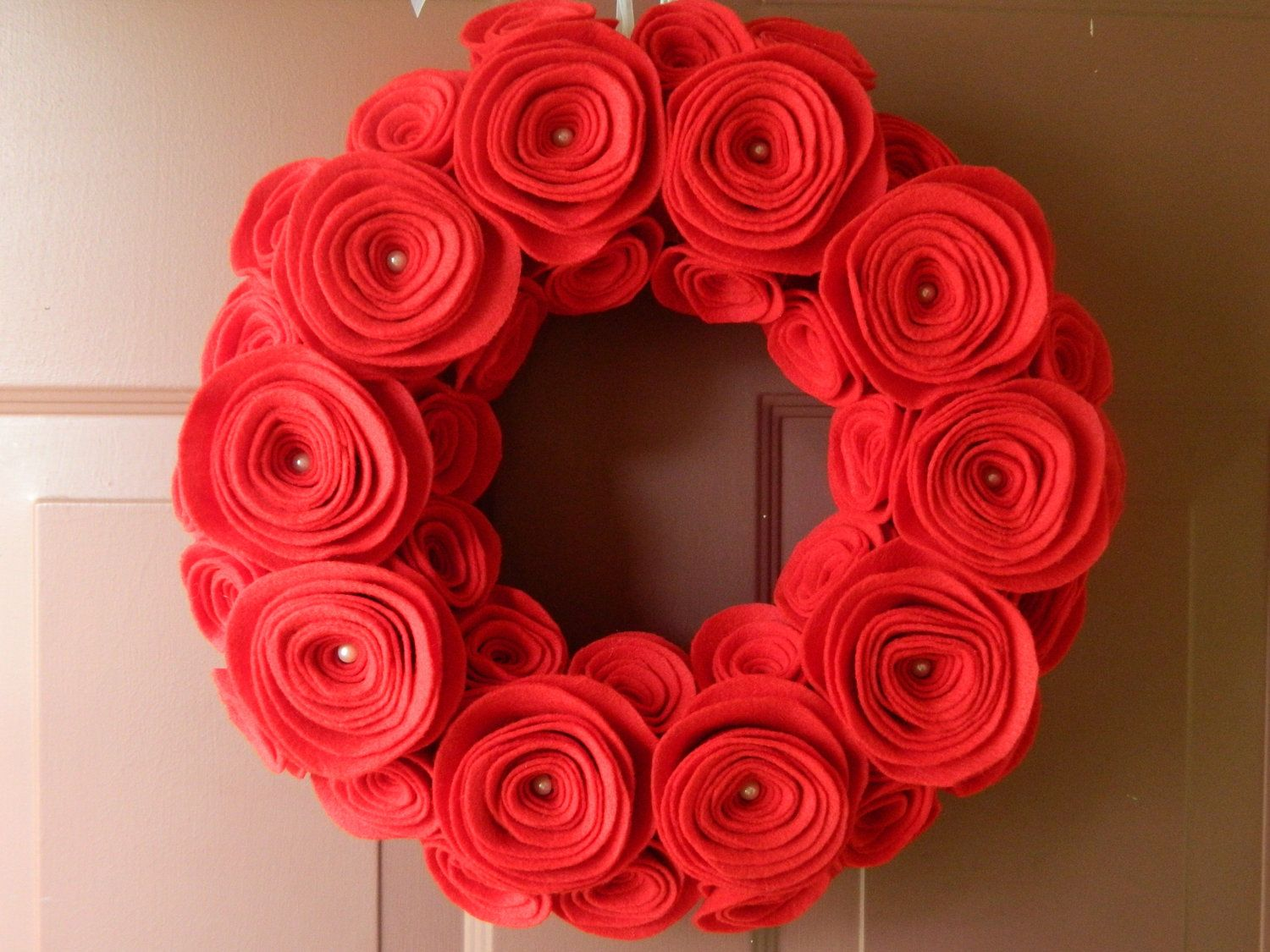 Red Felt Flower Wreath - 12 inch with pearls - Christmas Wreath ...