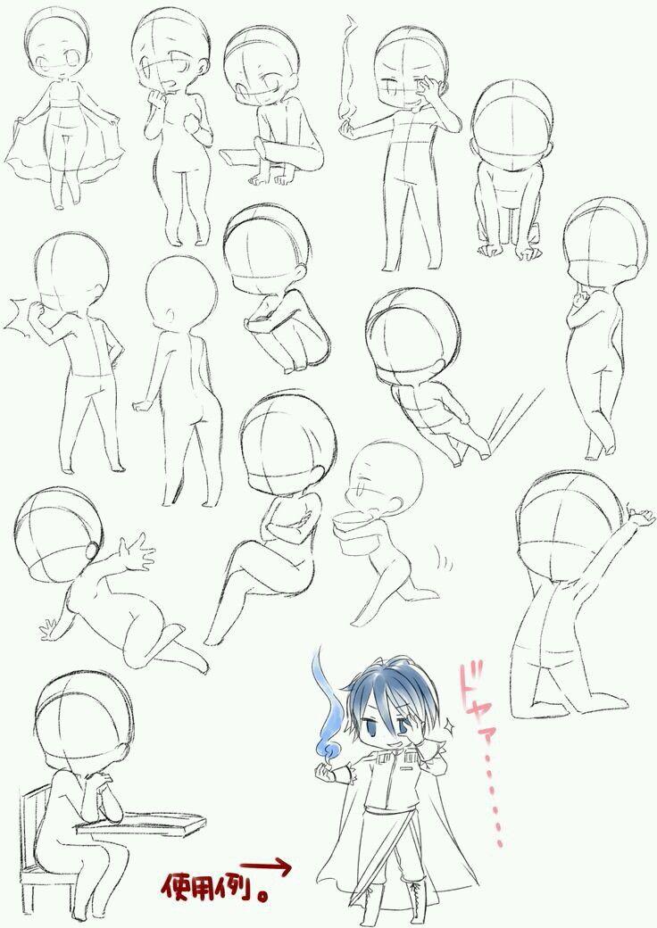 Dibujo chibis anime poses Bocetos, Chibi dibujos