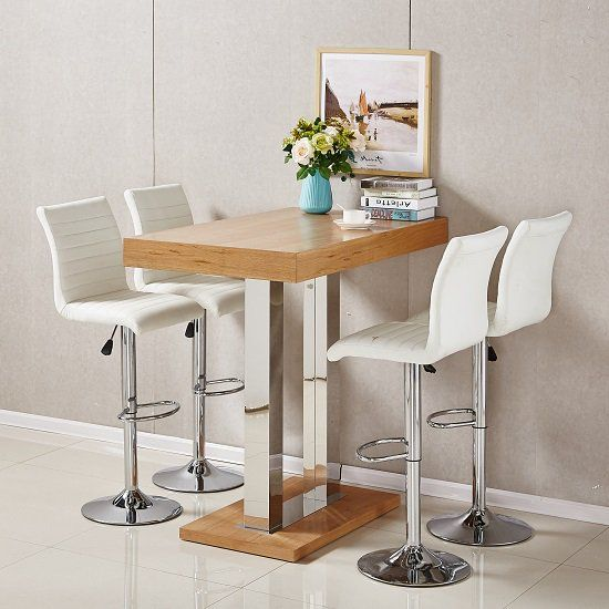 Caprice Bar Table In Oak With 4 Ripple White Bar Stools Bar Table Bar Table And Stools White Bar Stools
