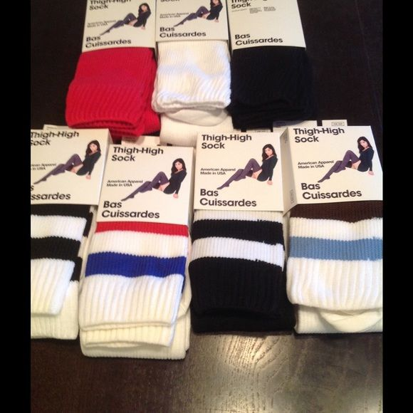2 thigh highs! American apparel nwt black white / white red blue American Apparel Accessories Hosiery & Socks