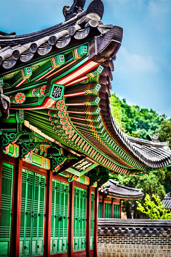 Roof Top Of Korean Palace Asian Wall Decor Fine Art Etsy In 2020 Asian Wall Decor Asian Architecture Art Photography