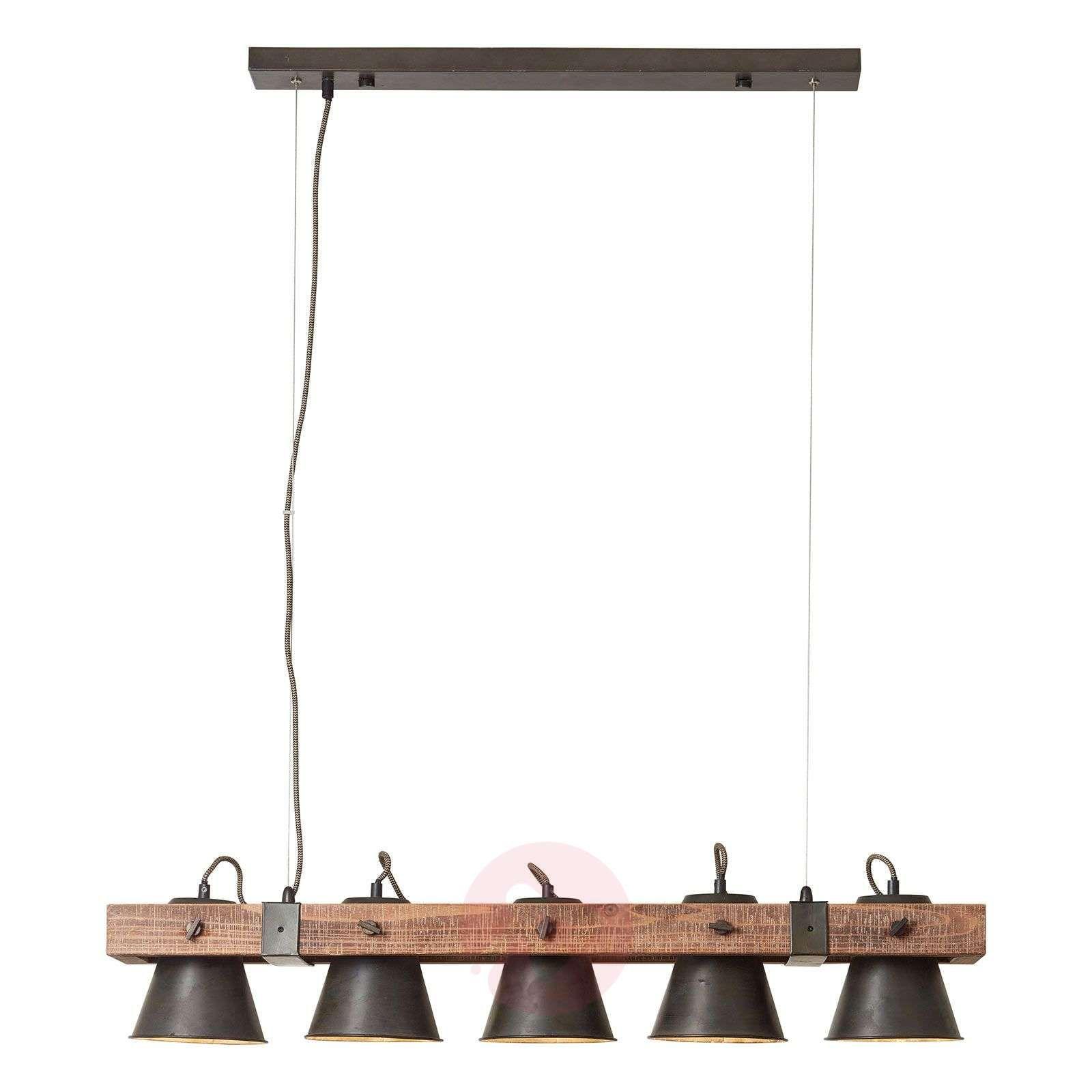 Lampa wisząca Plow 5 punktowa czarnaciemne drewno | Madera