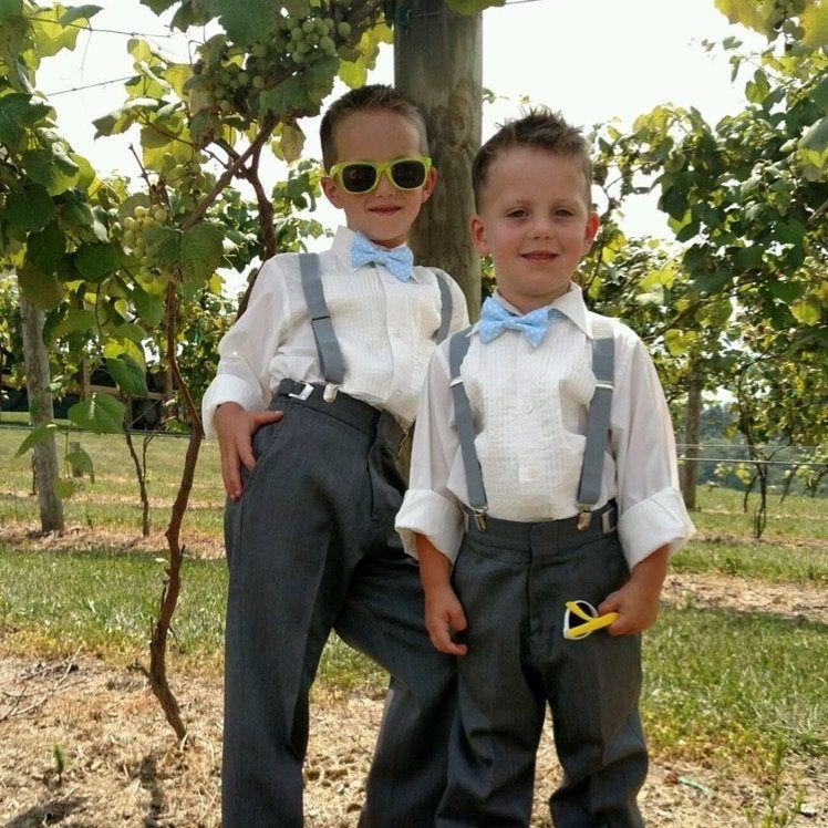 Photo of Gray Suspenders Groomsmen Suspenders Wedding Suspenders Ring Bearer Outfit Boys Suspenders