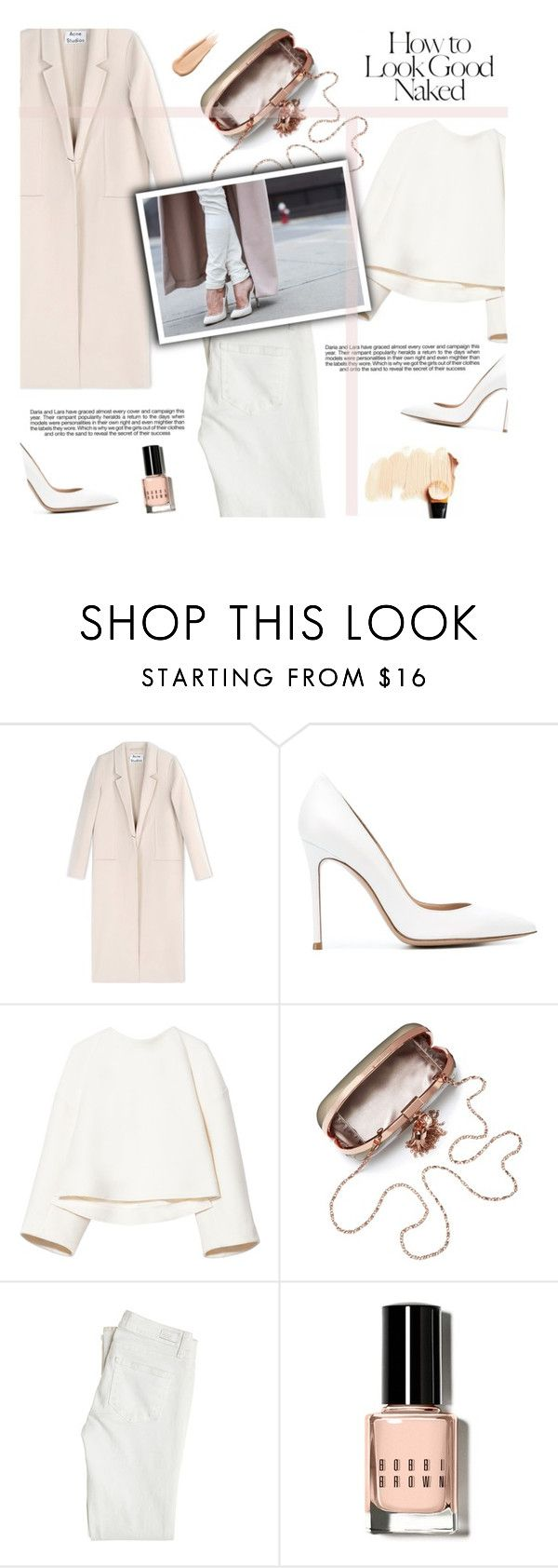 """""""Untitled #837"""" by intellectual-blackness ❤ liked on Polyvore featuring Acne Studios, Gianvito Rossi, Marni, Paige Denim, Industrie, Bobbi Brown Cosmetics, Hourglass Cosmetics, white, nude and whiteandnude"""