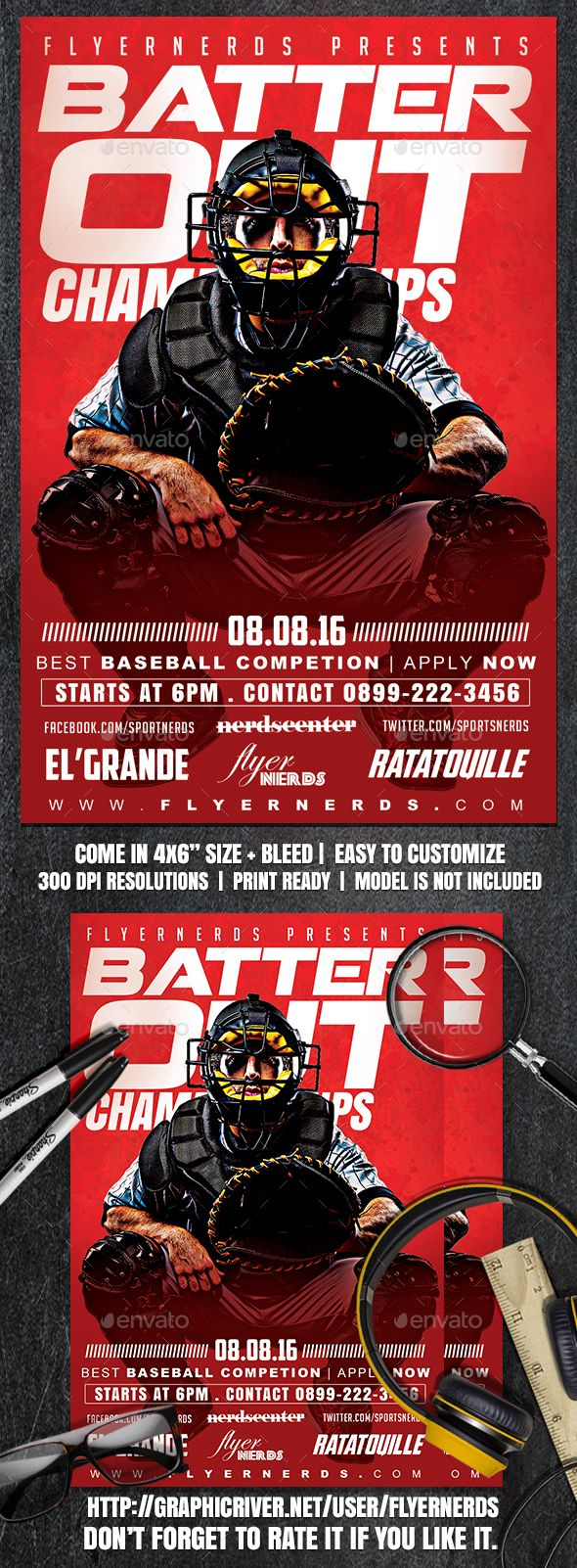 Batter Out Sports Flyer  Event Flyers Template And Psd Templates