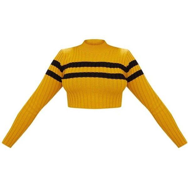 e33cbe899e2 Mustard Stripe Detail Cropped Knitted Jumper ($25) ❤ liked on Polyvore  featuring tops, sweaters, mustard sweater, jumpers sweaters, mustard yellow  top, ...