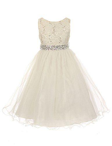 JM Dreamline Sleeveless Shiny Tulle Flower Girls Dress with Beaded Waist (Ivory, 4) JM DREAMLINE http://www.amazon.com/dp/B017JE77F0/ref=cm_sw_r_pi_dp_eON-wb1WH518W