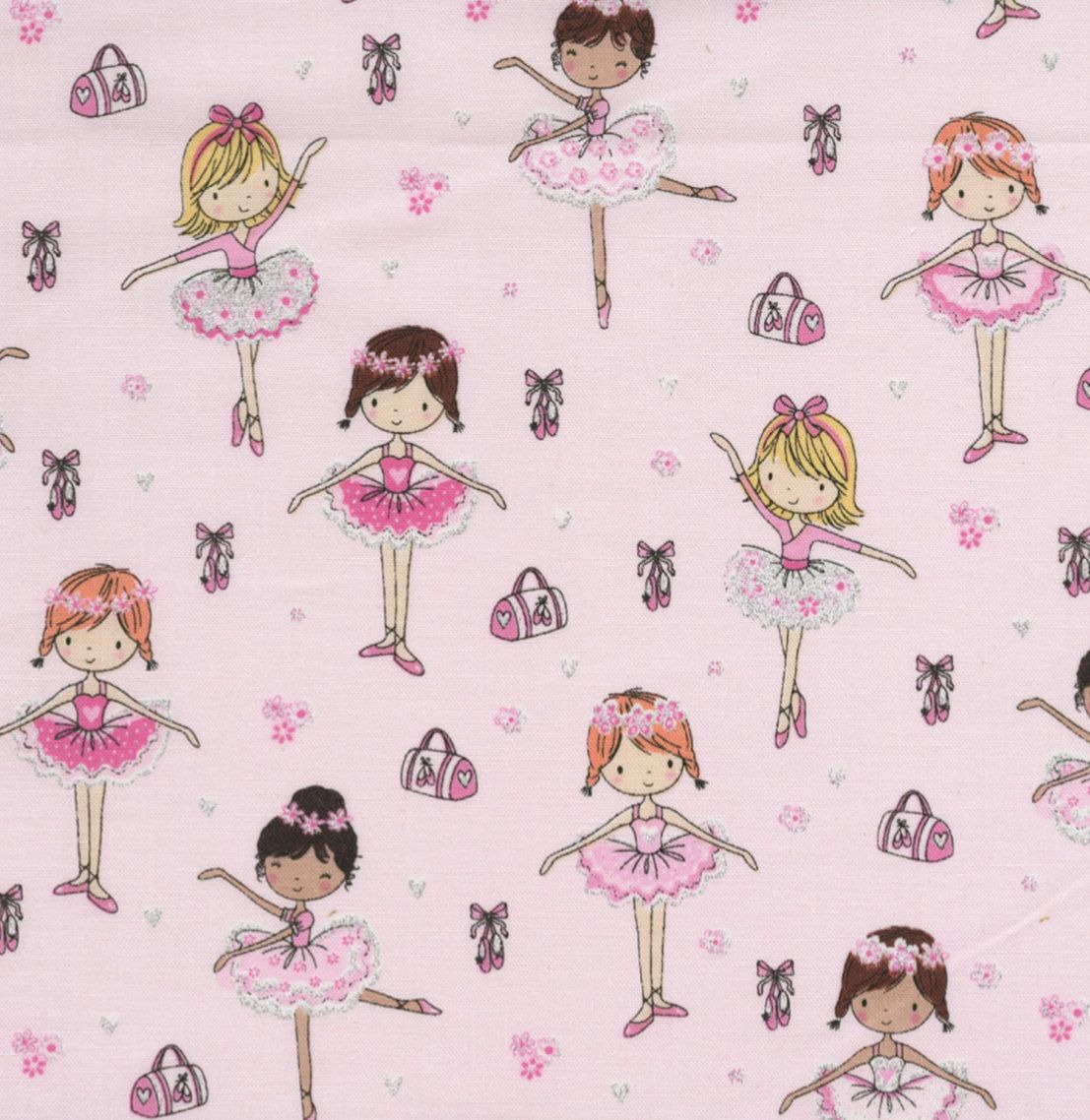 Timeless Treasures Pink Glitter Ballerinas 100/% cotton Fabric Patchwork Quilting