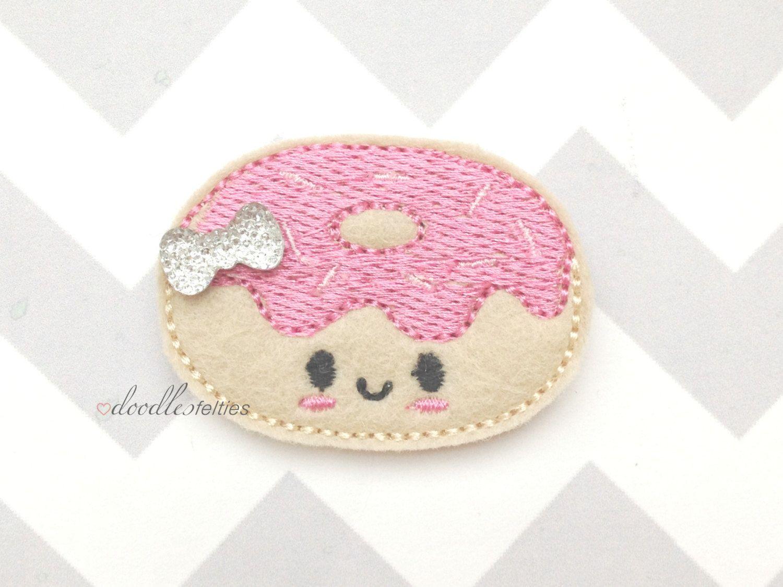 Set of Four/Pink/Smiley Donut Felt Applique/Embellishments/Felties/UNCUT by DoodlesFelties on Etsy