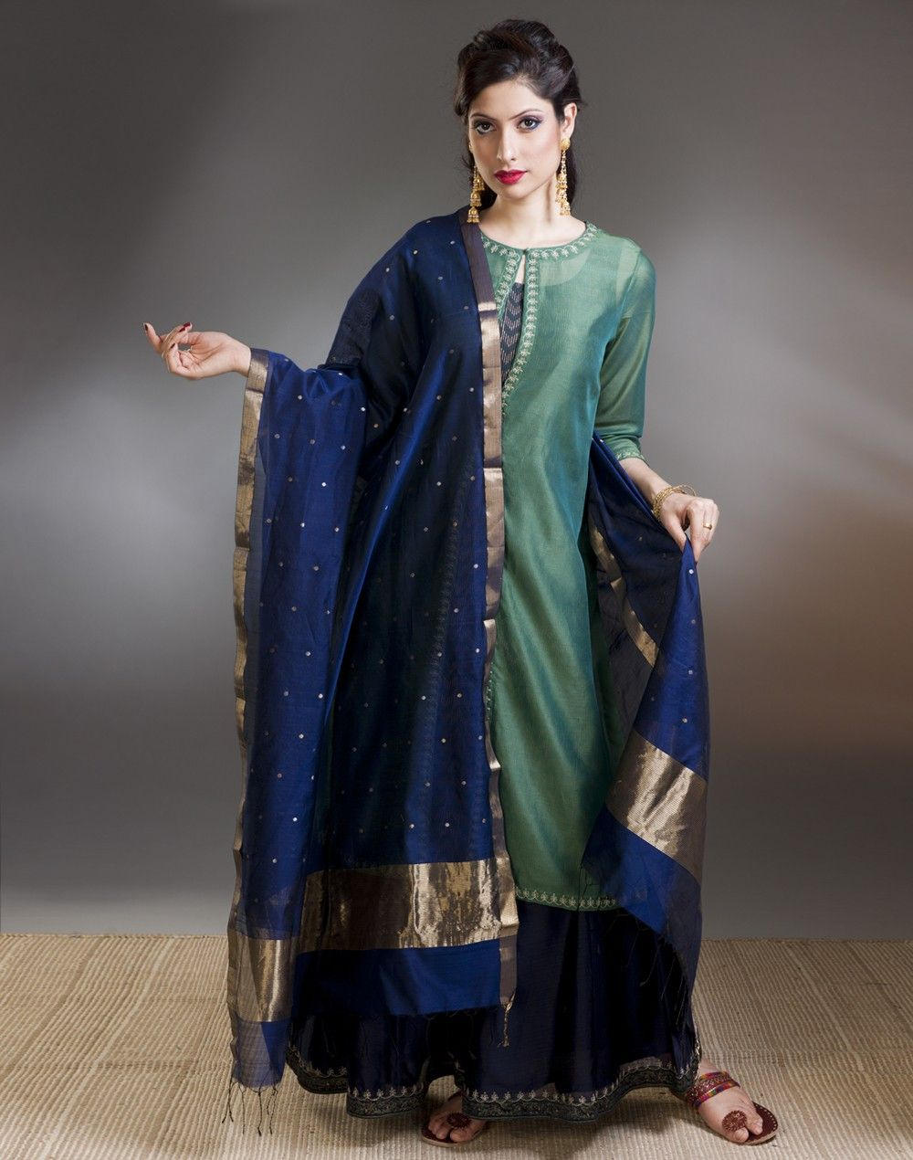 Silk Cotton Chanderi Silver Gold Buti Dupatta | Confluence ...