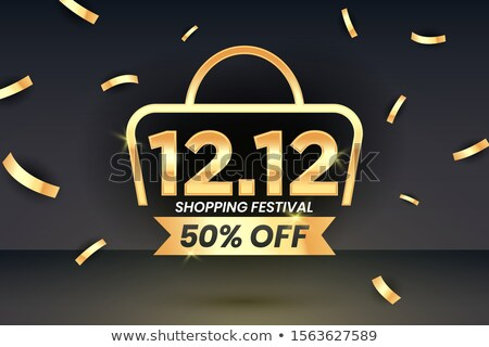 1212 Shopping festival sale banner with gold confetti on 3d realistic studio mockup  Social media banner template voucher discount season sale