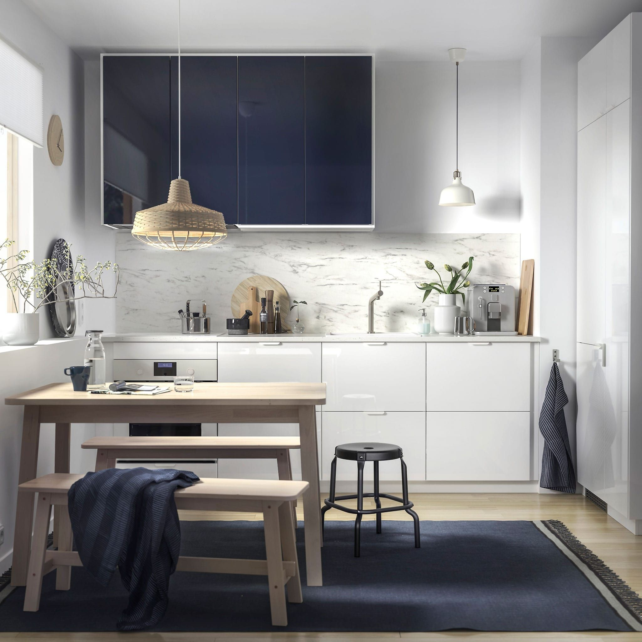 Beautiful White And Blue Kitchen Cabinets Design