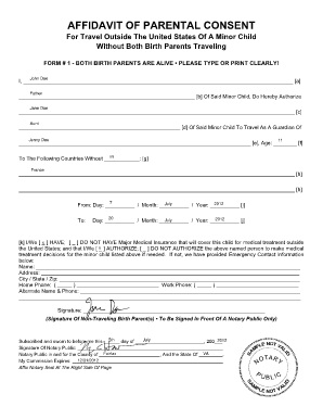 Affidavit Of Parental Consent Form  Printable Medical Release Form For Children