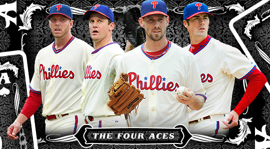 The Four Aces Cole Hamels Roy Oswalt Roy Halladay And Cliff Lee After The Phillies Signed Lee For The 2011 Campaign Phillies Baseball Phillies Cole Hamels