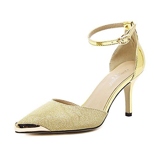 Gold minimalistic stiletto sandals / evening shoes with ankle strap khC2c