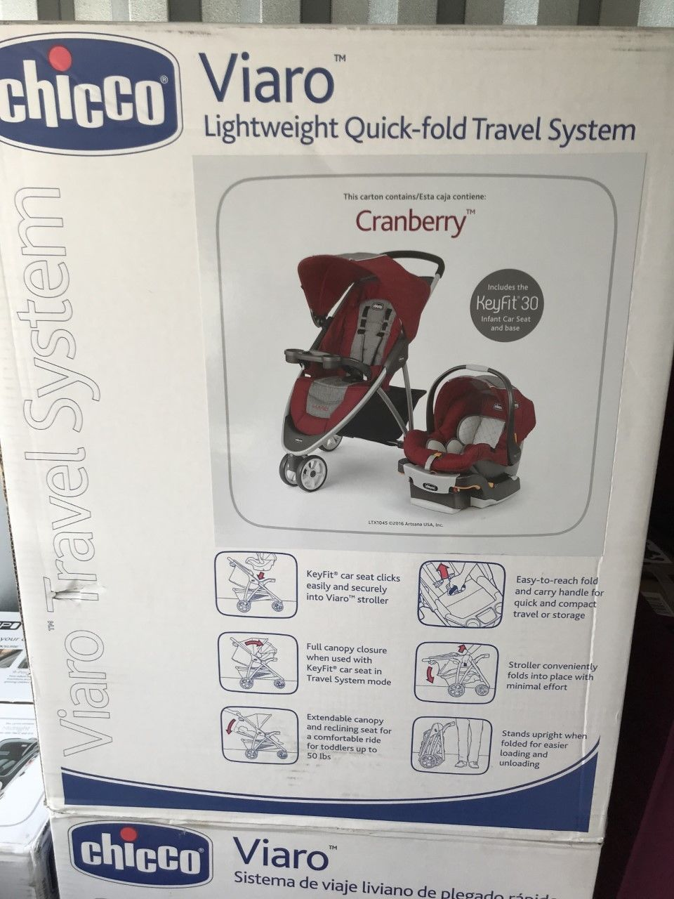 Other Strollers 2989 Chicco Viaro 3 Wheel Travel System Stroller W