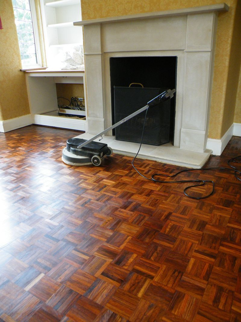 Restored Teak Parquet Flooring Modern Living Room