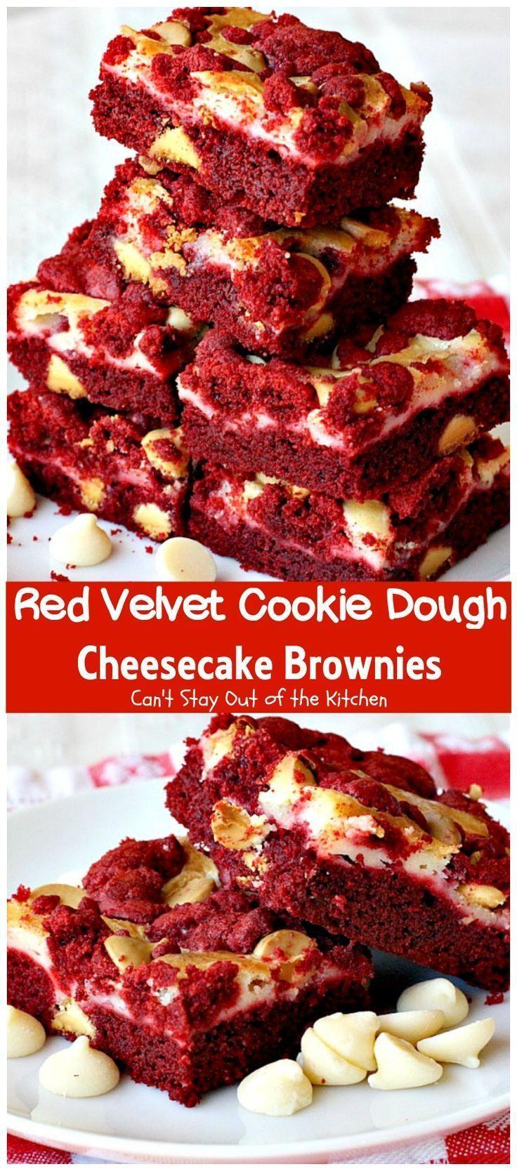 Red Velvet Cookie Dough Cheesecake Brownies- -#Desserts #redvelvetcheesecake