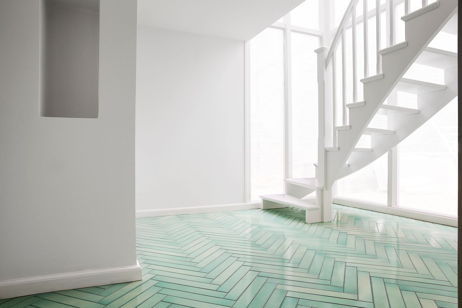 How Gorgeous Is This Green Herringbone Floor Made Of Glazed Lava Stone From Made A Mano S Cristalli Range Herringbone Floor Home Decor Made A Mano