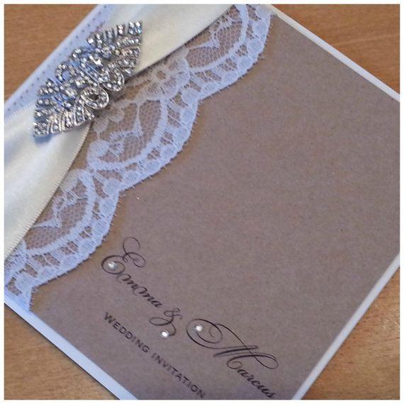 Vintage Handmade Wedding Invitations: Luxury Handmade Vintage Lace And Crystal Wedding