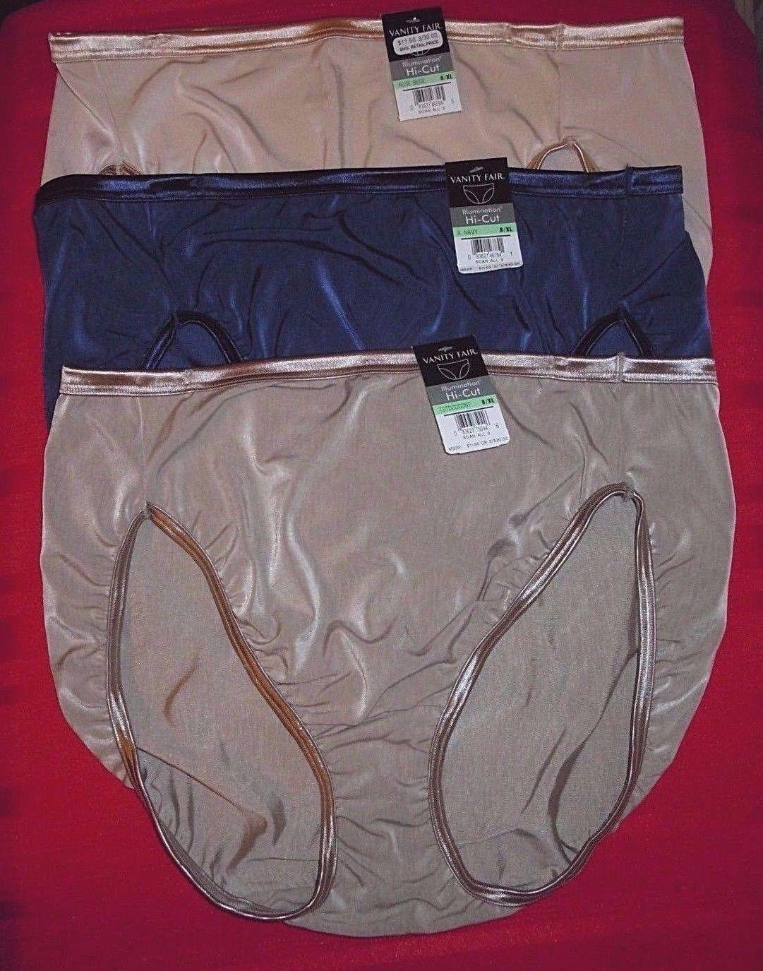 3 VANITY FAIR 8 XL Illumination Hi Cut Briefs Panties Beige Blue 13108  Underwear