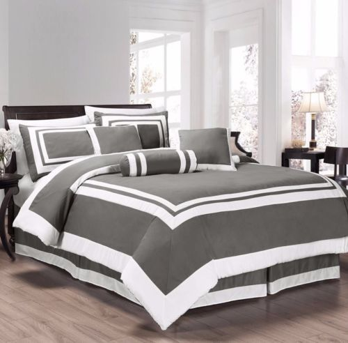 Chezmoi Collection 7pc Gray White Block Hotel Style Comforter Set King In Home Garden Bedding Comforters Sets Ebay