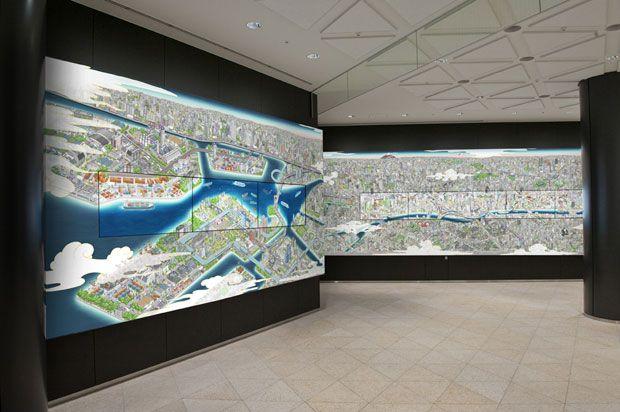 Con la inauguración de la torre Skytree de Tokio, la más alta de Japón, el estudio Team Lab, ha creado un mural digital a color con todo lujo de detalles de la ciudad de Tokio.