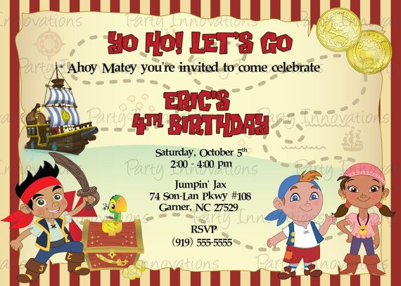 Printable jake and the neverland pirates birthday party invitation printable jake and the neverland pirates birthday party invitation plus free thank you card filmwisefo