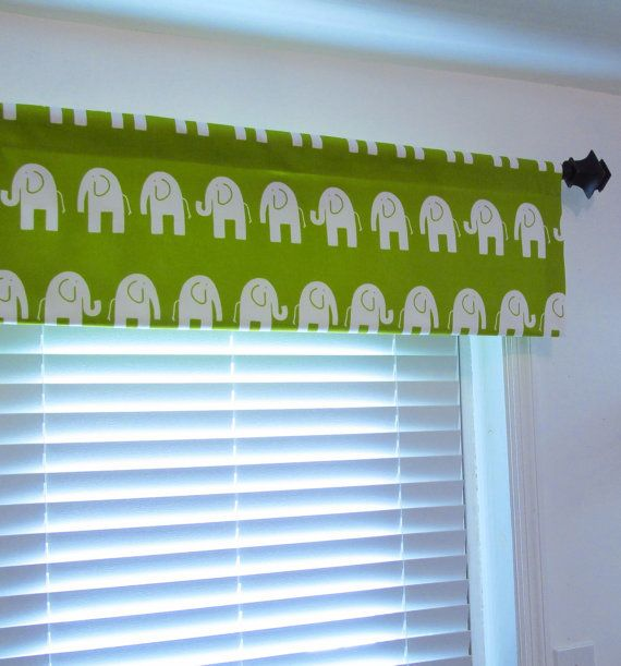 Chartreuse Elephant Curtain Valance Nursery Kids By Oldstation