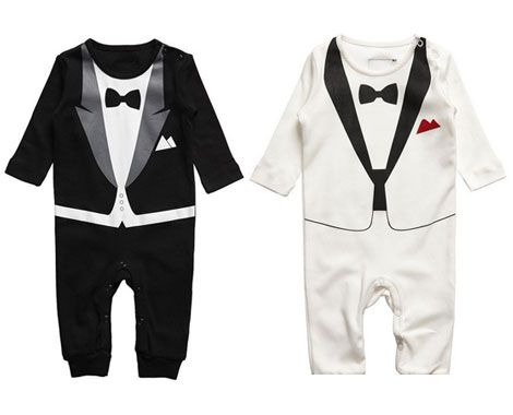 e397907fd443 Dress them up like the little gentlemen they are. Grab a baby tuxedo onesie  for  26.50 from 1 Day Baby Deals. Available in two colours and three sizes.