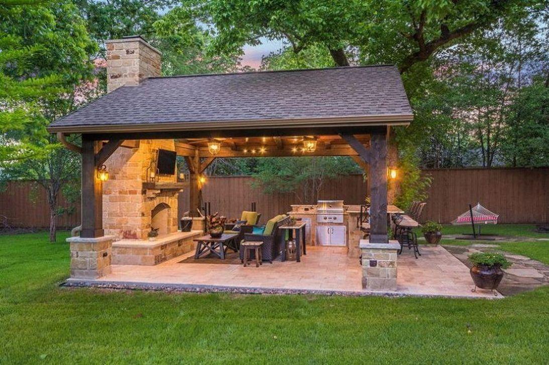 48 Pretty Outdoor Backyard Kitchen Ideas Backyard Pavilion Patio Design Outdoor Backyard