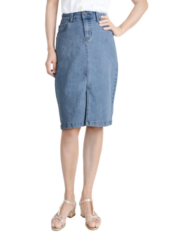 b19f3c2646a0 Women Stretch Medium Wash Front Slit Blue Denim Jean Pencil Midi Skirt -  Blue - CK1862DK6C5,Women's Clothing, Skirts #women #fashion #clothing  #outfits ...