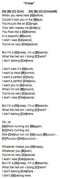 Creep Radiohead Ukulele Chords Ukulele 3 Pinterest