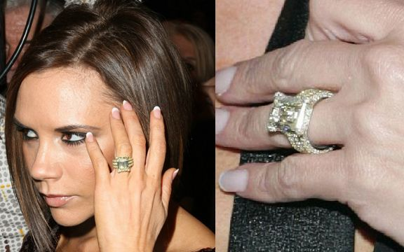 Victoria Beckham\'s engagement rings: a large emerald-cut fancy yellow  diamond, set on