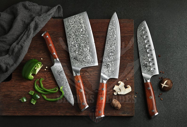 Damascus Chef Knife 4 Pc Set Best Gift Damascus Kitchen Etsy Damascus Steel Kitchen Knives Chef Knife Kitchen Knives